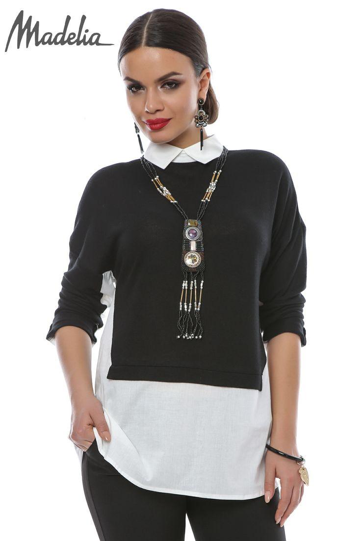 Camasa cu insertii din pulover | Madelia Fashion - Magazin online haine și rochii de damă