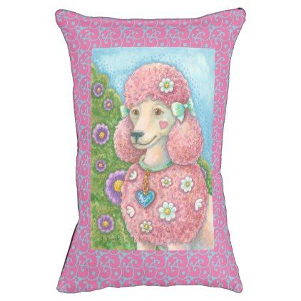 PINK FRENCH POODLE ART DOG BED Indoor Sm - dog puppy dogs doggy pup hound love pet best friend