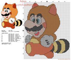 Super Mario Bros Tanooki grille point de croix 77 x 97 8 couleurs