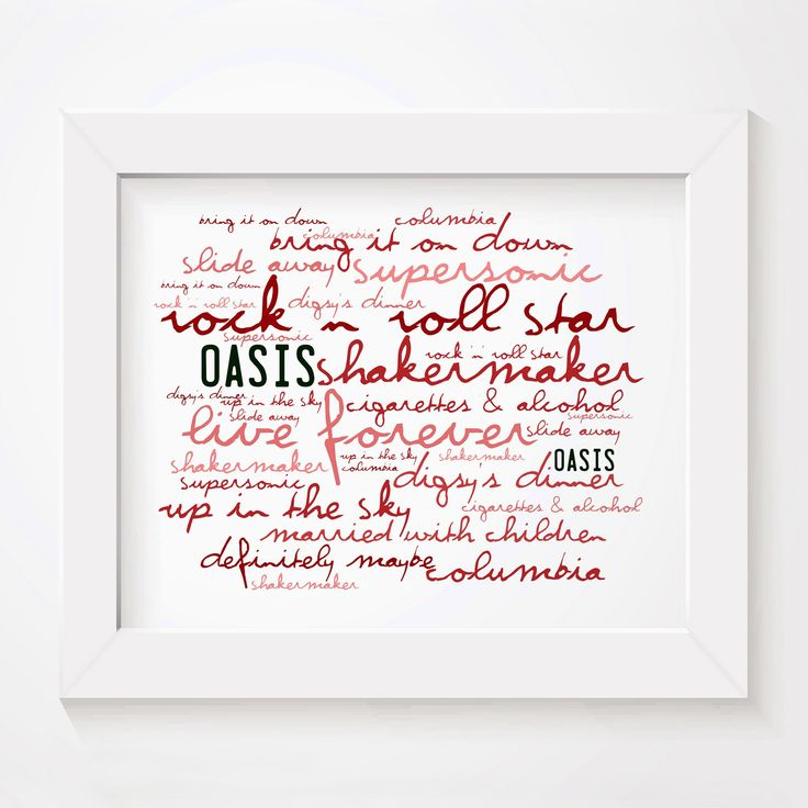 Oasis Definitely Maybe 'Zephyr' limited edition typography lyrics art print. signed and numbered … | Typography wall art. Lyrics art. Typography ...