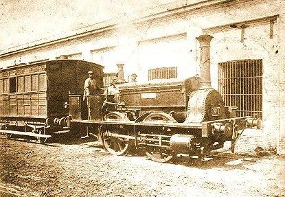 Argentina 1857. Estación de tren del Ferrocarril Oeste y máquina La Porteña    via classic and modern....