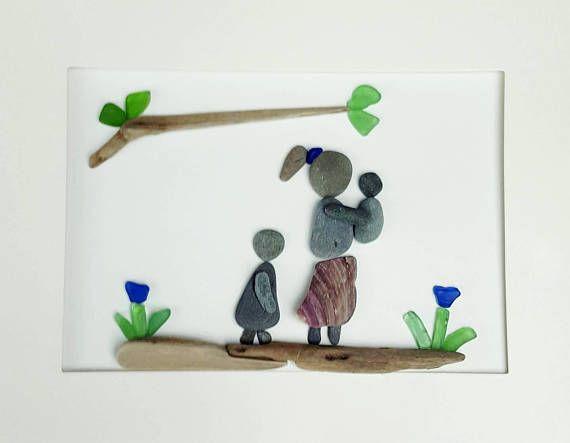 Sea Glass Art Mom and Tots Genuine Sea Glass!  #etsy #etsyca #etsyfinds #etsyhandmade #etsylove #Seaglass #seaglassdecor #seaglassart #handmade #handmadegifts #wallart #framedart