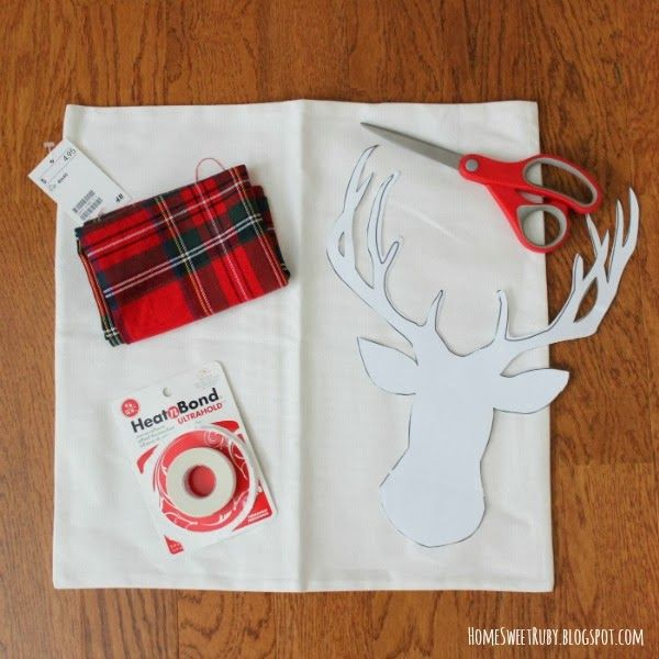 no sew pillow, christmas pillow, deer pillow, deer head silhouette, easy pillow, christmas craft