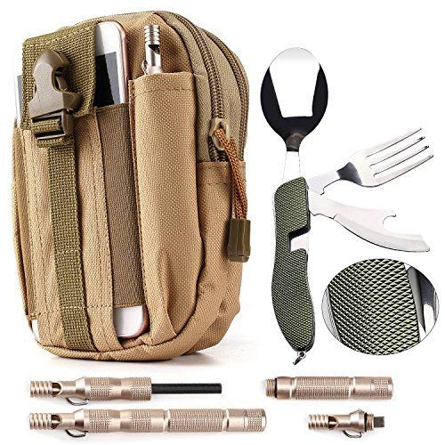 Camping / Survival Kit - Military Canvas Pouch with Phone Slot (1) + Folding Utensils (1) + Emergency Magnesium Survival Fire Starter Flint (1). For product & price info go to:  https://all4hiking.com/products/camping-survival-kit-military-canvas-pouch-with-phone-slot-1-folding-utensils-1-emergency-magnesium-survival-fire-starter-flint-1/