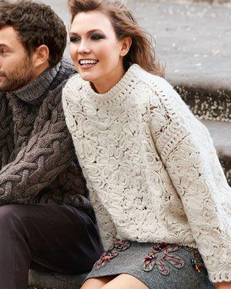 Stella McCartney | Long-Sleeve Crochet-Embroidered Sweater $1775.00