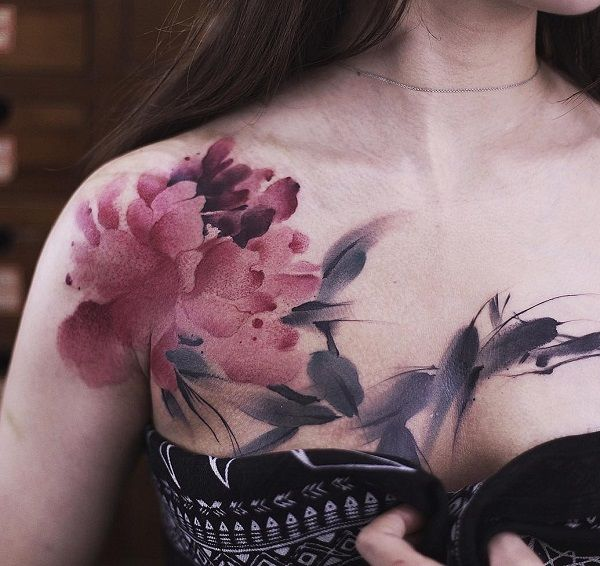 Peony chest tattoo - 75 Nice Chest Tattoo Ideas
