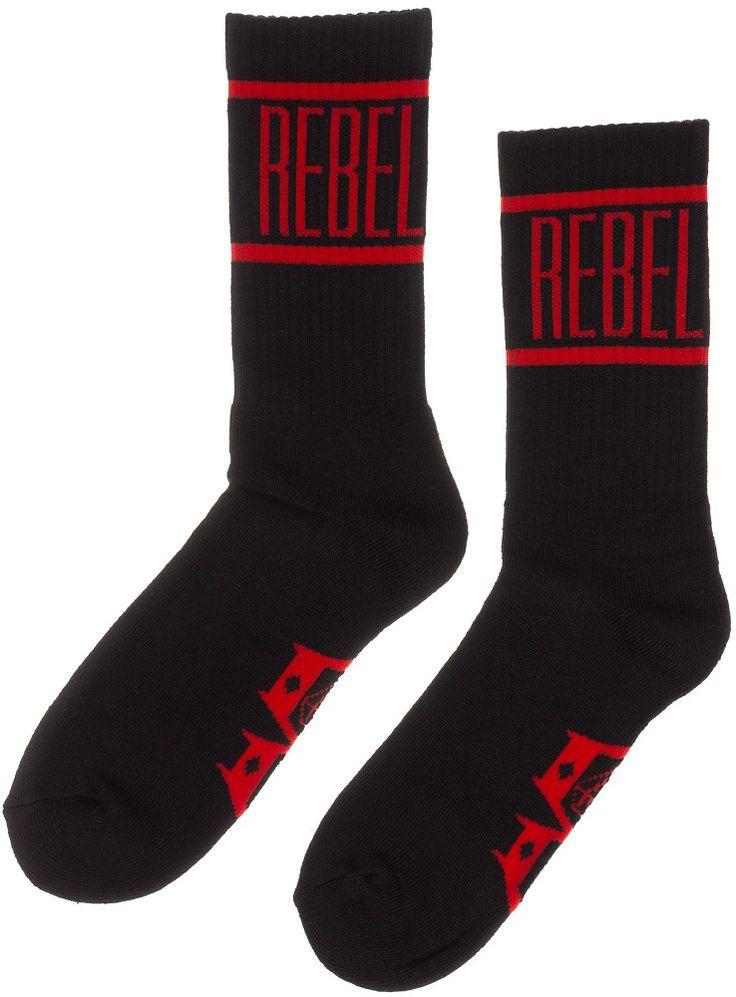 REBEL 8 DEGENERATE SOCKS BLK/RED One says Rebel! One Says Eight! These degenerate socks will look great with a pair of long skate shorts. $12.00 #rebel8 #guys #socks