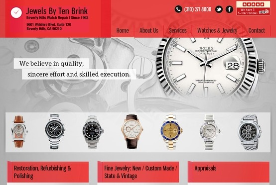 #WebDesign - Beverly Hills Watch Repair is one of our clients at Completenet and to see other of our work with our clients, here's a link to all the portfolios at Completenet. Do check it out and contact us for further information regarding our services http://www.completenet.com/portfolio.html