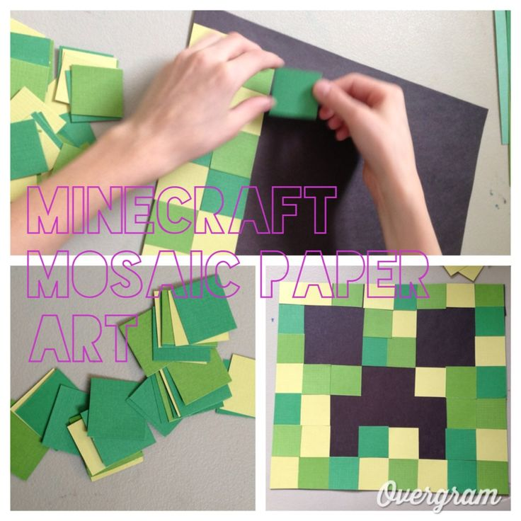 Minecraft creeper paper mosaic.  For 8x8 background paper, cut 1inch squares of colored paper.  For 12x12, cut 1.5 inch squares.  Creates an 8x8 grid.  Use colors that match the character you want to make.