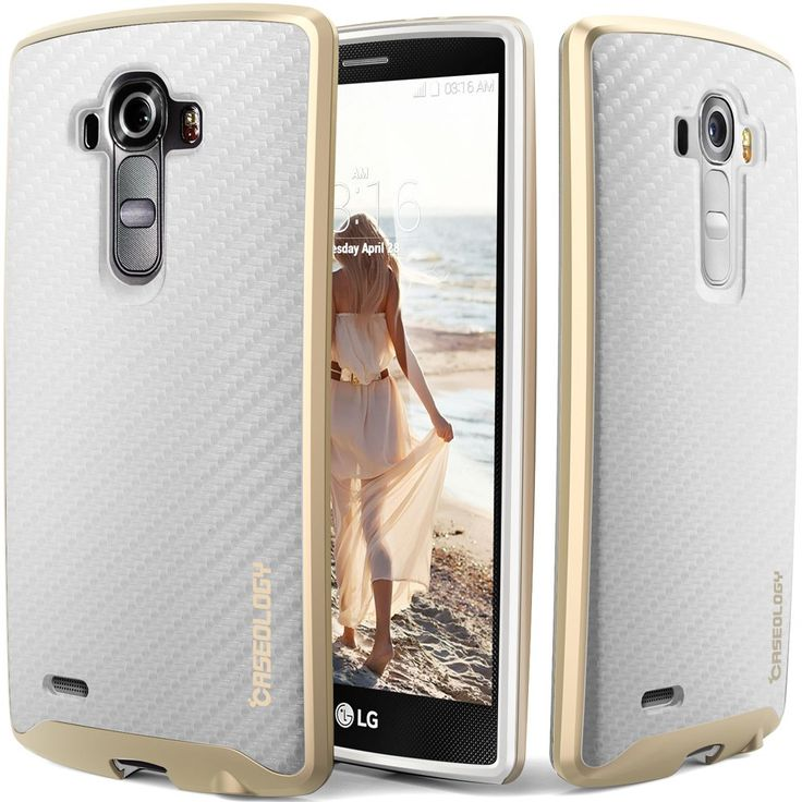 LG G4 Case, Caseology® [Envoy Series] [Carbon Fiber White] Premium Leather Bumper Cover [Leather-Bound] LG G4 Case (2015)