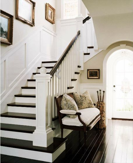 Entryway Foyer With Staircase : Foyer with dark wood louis xvi bench white cushions