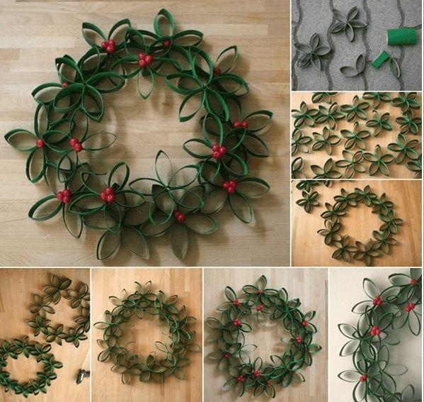 cmo hacer una corona navidea con materiales reciclados materiales rollos de papel higinico