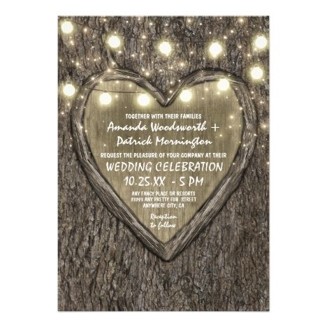 String Lights  Oak Tree Bark Wedding Invitations #stringlights #sparklelights #rusticwedding #weddinginvitation #outdoorwedding