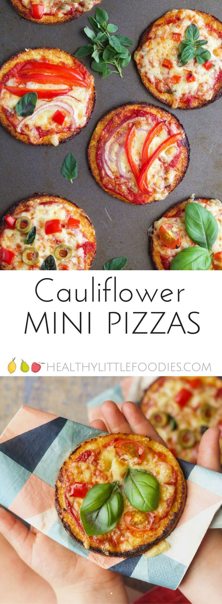 Cauliflower base mini pizzas - a great way to add more veggies into a kid favourite dish. #pizza #kidfood #kidsfood #hiddenveg #hiddenveggies via @hlittlefoodies