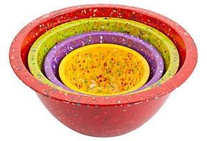 4-Piece Confetti Nesting Bowls, Red