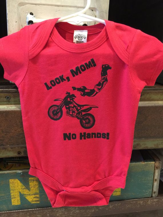 Motocross Baby Body Suit - Look Mom No Hands