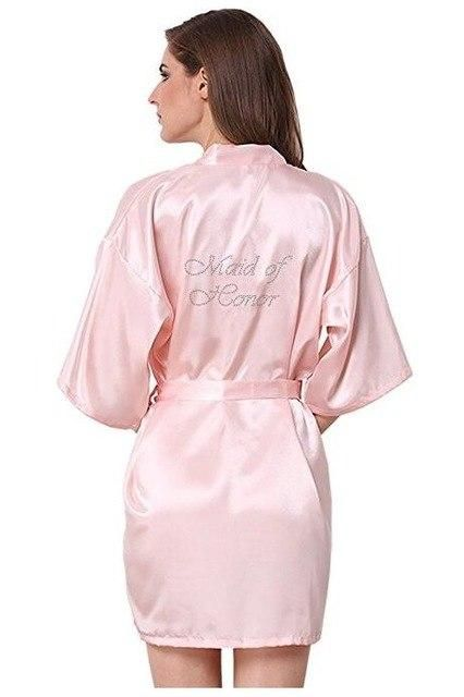 204726bb0e821 RB89 Rhinestone Letter Bride Robes Bridesmaids and Maid Of Honor ...
