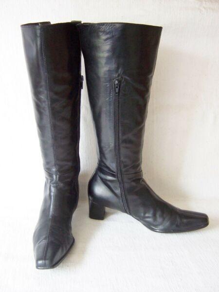 Damenschuhe Gr. 8 Waldläufer Stiefeletten in schwarz / bordeaux Nubuk-Lackleder # Stiefel,