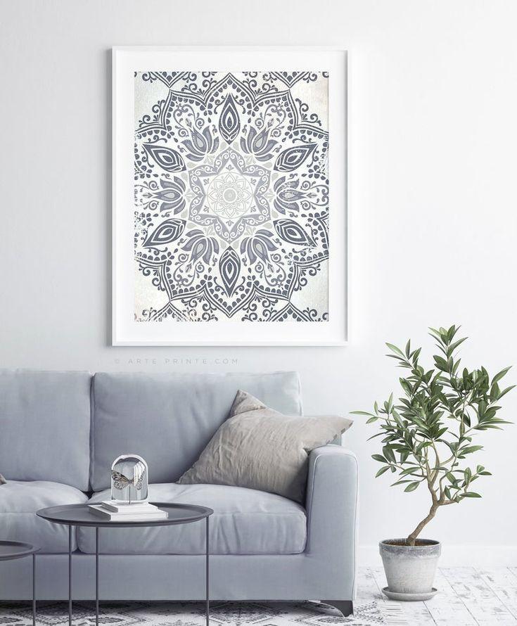 Mandala Wall Art Gray Floral Pattern Grey Bedroom Modern ... on Modern Boho Wall Decor  id=61197