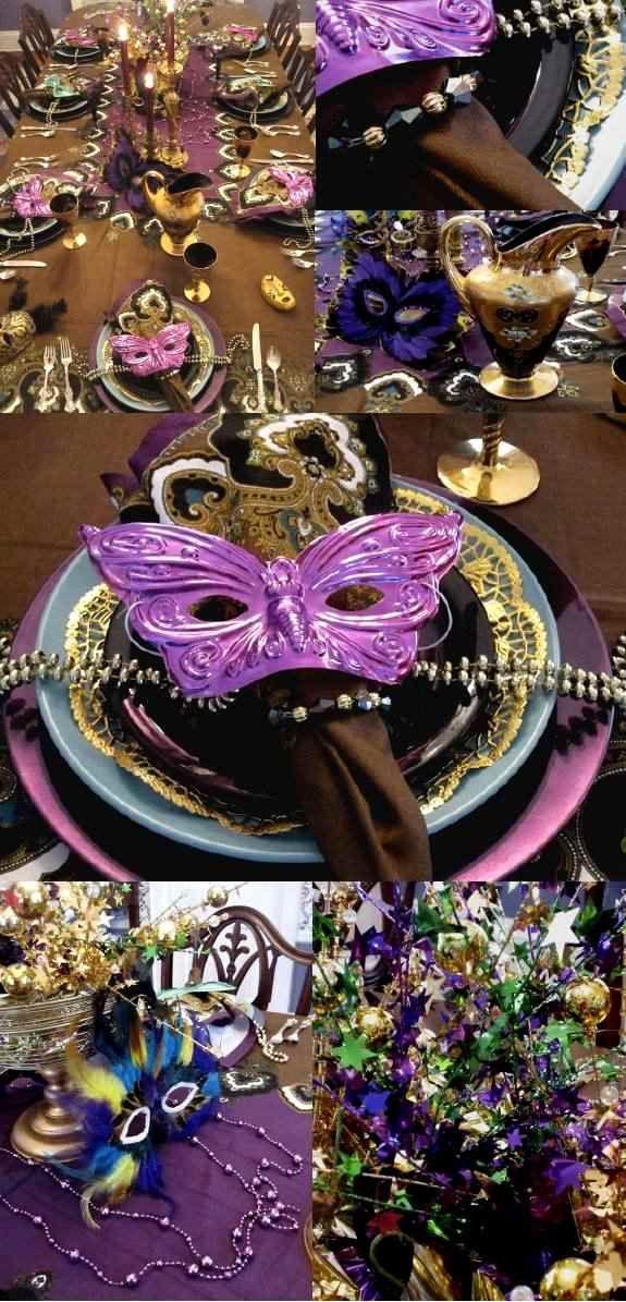 faschingsdekorationen zuhause masken tischdeko ideen lila blau