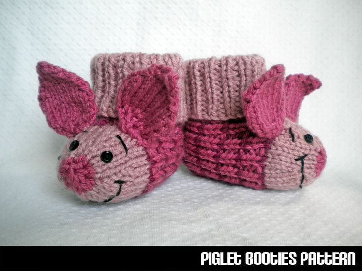 Baby Chick Booties Knitting Pattern : Piglet Baby Booties Knitting Pattern crafts Pinterest