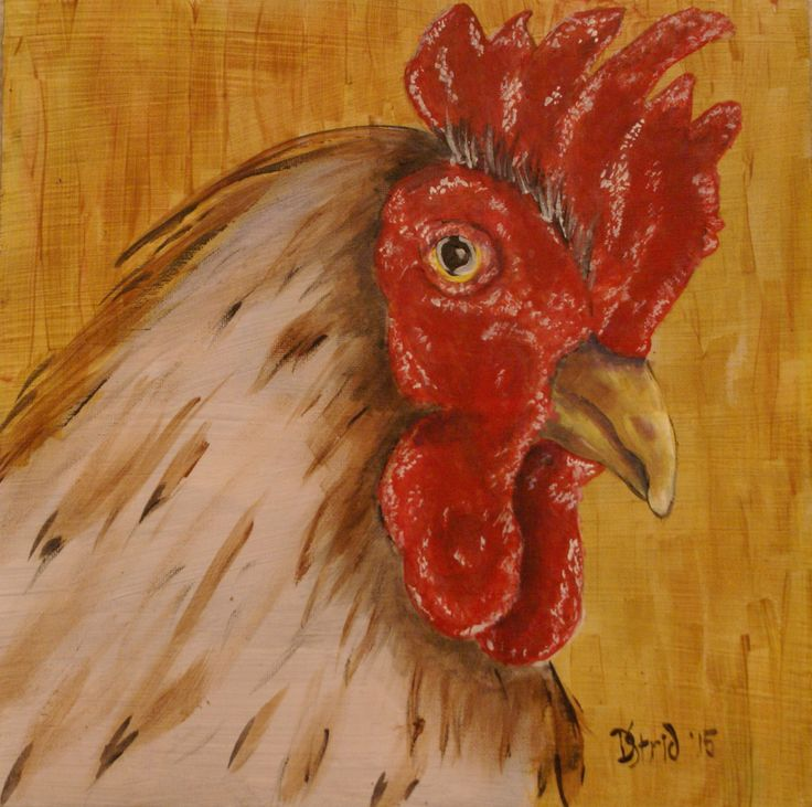 Small Rooster. Acrylic on stretched canvas