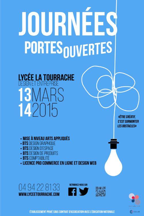 affiche JPO lycée la tourrache 2015 par Thomas Thevenet (inspiration Saul Bass)