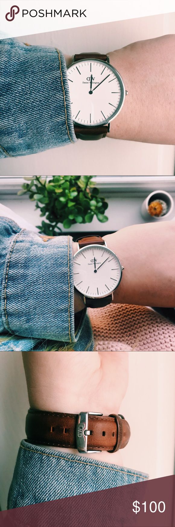 Classic Brown Leather Daniel Wellington Watch Silver/brown leather watch with adjustable band!! Great classy/casual watch! Daniel Wellington Accessories Watches