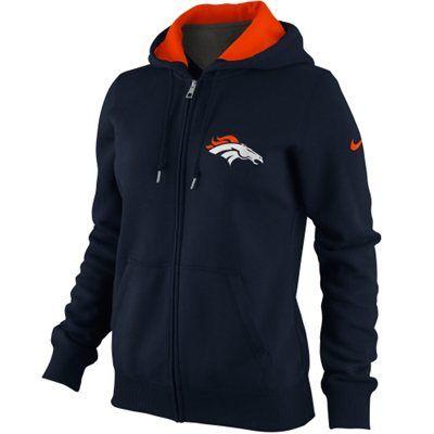 Nike Denver Broncos Ladies Tailgater Full Zip Hoodie - Navy Blue