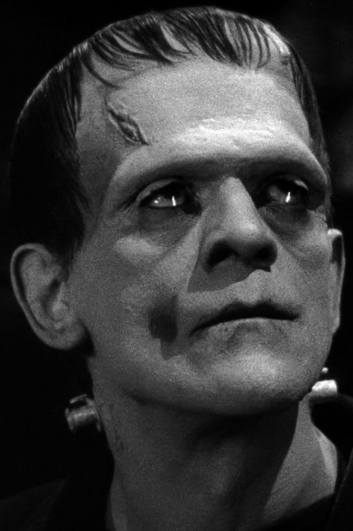 Boris Karloff as the monster Frankenstein, 1931... His eyes have such a sadness to them, this photograph really makes me feel for him.