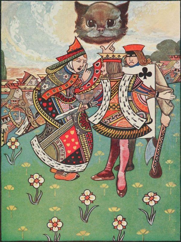 Чарльз Робинсон изобразил милейшего Чеширского кота нарисунке «Разговор королевы, короля ипалача»! Иллюстрации кизданию 1907 года.
