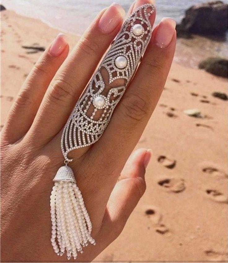 Filigree Full Finger Ring. Diamond Art Deco Full finger armor ring with diamante pearls. Gift for girlfriend wife jewelry gifts beautiful full finger  rings unique ##fullfingerrings