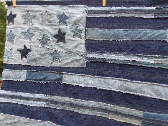 You cant get more American than a US flag and blue jeans. I combined these two classics into an awesome repurposed denim flag. I used old jeans with a variety of washes, deconstructed them, and sewed them up into a flag. I used some of the bottom hems to add extra dimension to