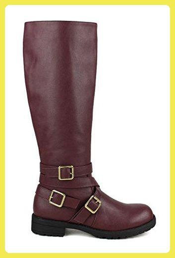 fourever Funky Damen Vegan Leder Lug Sohle Combat Schnürstiefel, Rot - Ochsenblut - Größe: 39 EU (M) - Stiefel für frauen (*Partner-Link)