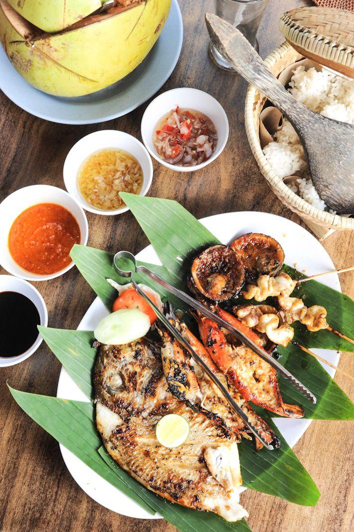 Menega Cafe in Jimbaran for seafood near the Four Seasons Hotel at Jalan Four Seasons, Muaya Beach, Jimbaran