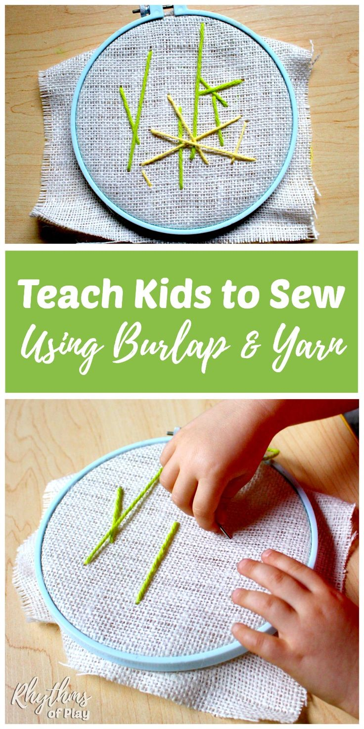 Teach kids to sew using burlap and yarn for an easy first lesson in the mechanics of sewing. Learning how to sew on burlap is a great sewing lesson for beginners to try before attempting more advanced forms of embroidery. Sewing is a great fine motor activity for kids and is perfect for Homeschooling, and Waldorf & Montessori education.