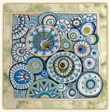 """Ezekiel's Wheels byMarianne Burr. 53""""x53""""    ____________________  53""""h x 53""""w"""