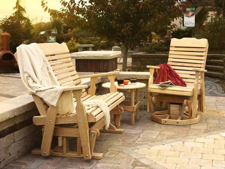 Take in many beautiful sunsets from the gorgeous, handcrafted Pine Curve Back Glider Set.