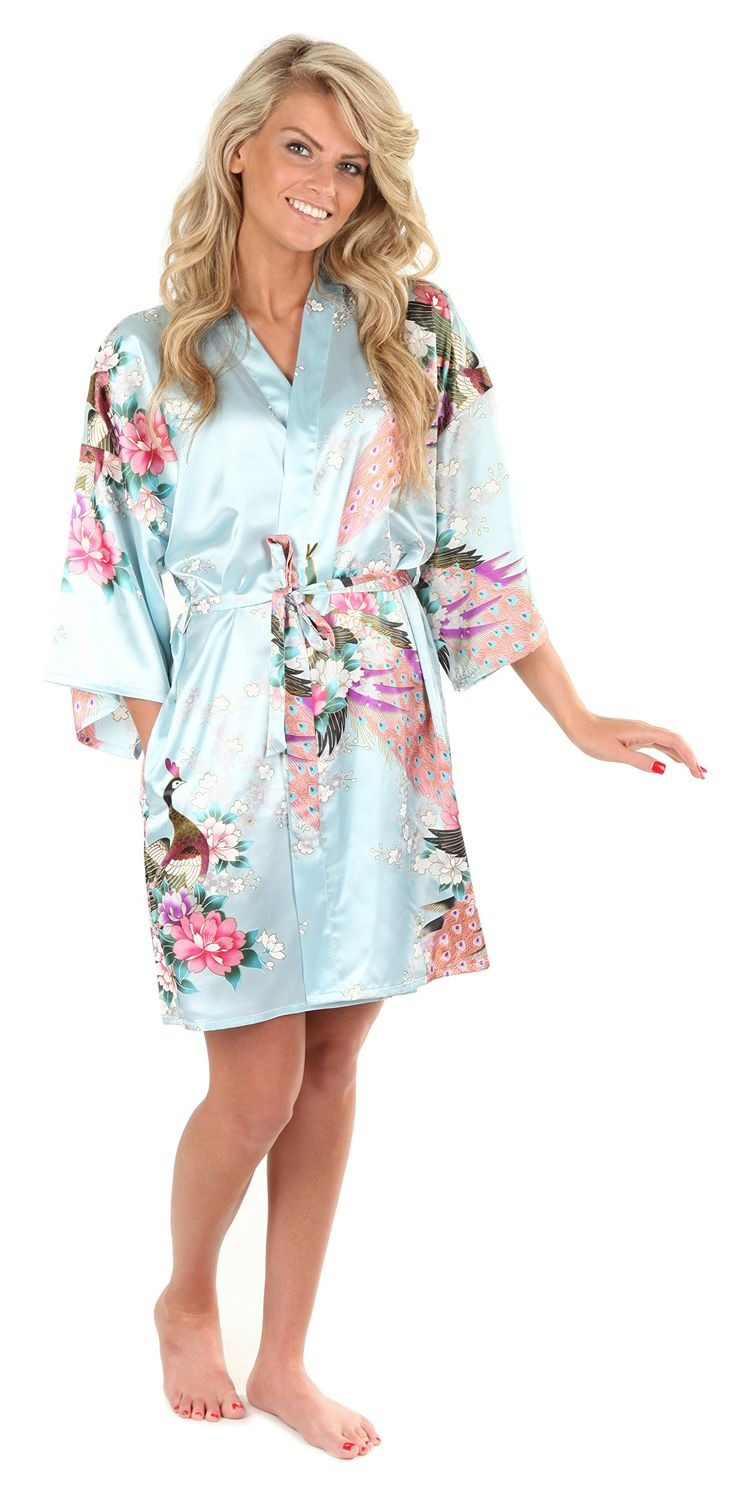 VEAMI Women's Kimono Robe, Peacock Design, Short at Amazon Women's Clothing store: Bathrobes