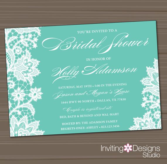 Lace Bridal Shower Invitation, Wedding Shower Invitation, Lace, Aqua, Teal, White, Customize Your Color on Etsy, $20.20 AUD