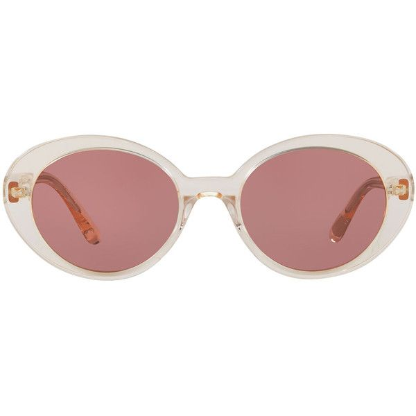 Oliver Peoples Parquet Monochromatic Oval Sunglasses (£365) ❤ liked on Polyvore featuring accessories, eyewear, sunglasses, oval sunglasses, yellow sunglasses, oliver peoples, see through sunglasses and oval glasses