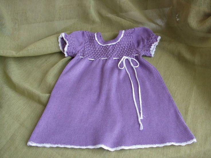 vestito bimba lilla cotone ricamato a mano, by maglieria magica, 29,50€ su misshobby.com