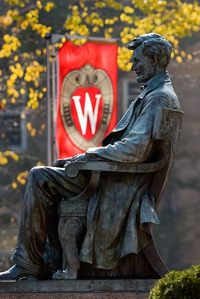 #Lincoln statue on Bascom Hill - UW Madison  #Travel Wisconsin USA multicityworldtravel.com We cover the world over 220 countries, 26 languages and 120 currencies Hotel and Flight deals.guarantee the best price