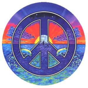 peace signs images   Window Sticker with Peace Symbol over Ocean with Dolphins & Whales