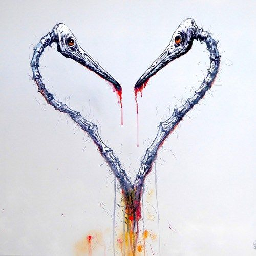 Crane Lovers Bird Skeleton Love - Montana Gold and Liquitex spray paint exotic bird graffiti art by Tim Niall-Harris