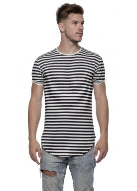 Basic half long tee stripe