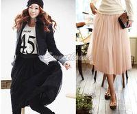 Moda Mujeres Señora 2014 Estilo del nuevo cordón de la princesa faldas de hadas 5 capas de la gasa falda de Tulle de Bouffant largo Puffy Faldas