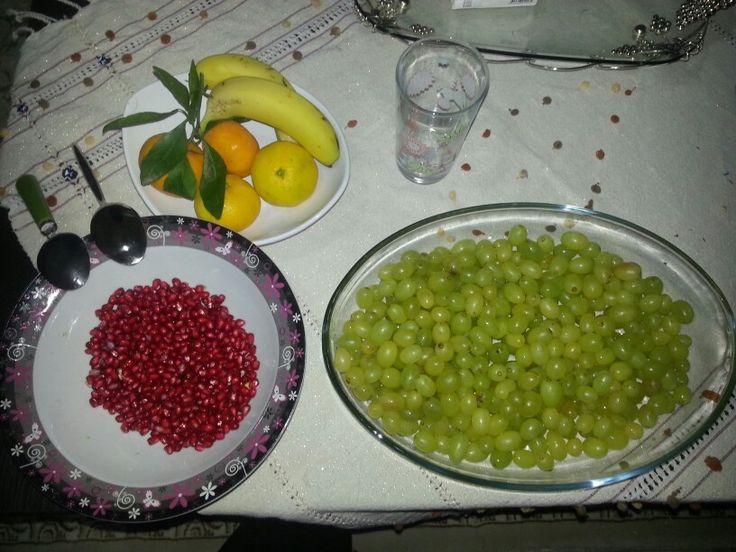 Meyve yemek güzeldir #nar #üzüm #muz #mandalina