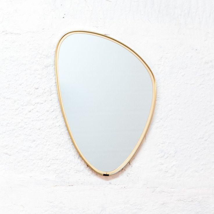 Miroir laiton doré forme libre - Vintage