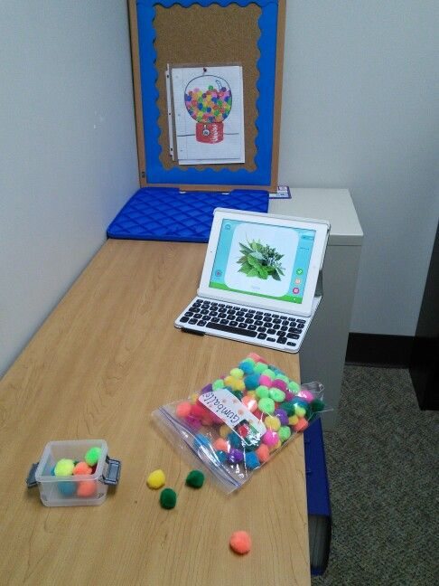"""My simple gumball game for speech therapy... Each time the child completes a turn, they get a little """"gumball pom pom"""" in their bucket, when the little bucket is full, they get to throw the pom pom and try to hit the gumball machine with it. You might even be able to get the child to say the sound of word for each pom pom they throw. This makes especially working on isolation a lot more fun!"""